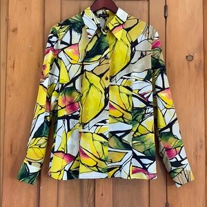Escada silk yellow black button front blouse 42